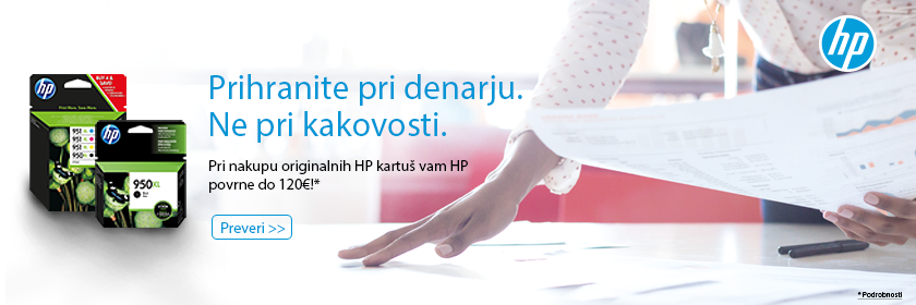 Prihrani do 120€ pri nakupu originalnih HP kartuš!