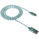 CANYON Lightning USB Cable for Apple, braided, metallic shell, 1M, Green