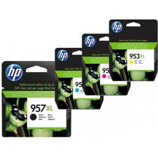 HP komplet originalnih kartuš 957 XL črna in 953 XL modra, rdeča in rumena