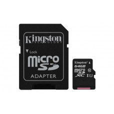SDXC KINGSTON MICRO 64GB CANVAS SELECT, 80MB/10MB/s, UHS-I Speed Class 1 (U1), adapter (SD