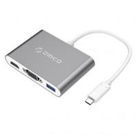 Adapter USB-C v 1xUSB-A, 1xUSB-C PD, 1xHDMI, 1xVGA, aluminij, siv, ORICO RCHV