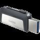 USB C & USB DISK SANDISK 64GB ULTRA DUAL, 3.1/3.0, srebrno-črn, drsni priključek