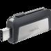 USB C & USB DISK SANDISK 64GB ULTRA DUAL, 3.1/3.0, srebrno-črn, drsni priključek (SDDDC2-0